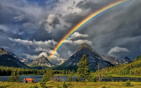 Rainbow in the Mountain - mountain, grass, nature, rainbow, clouds, sky