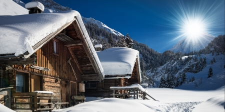 Cabins in South Tyrol, Italy - snow, sun, winter, sky, mountains, alps