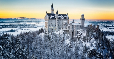 Neuschwanstein Castle, Bavaria - building, snow, mountains, sunset, trees, alps, winter