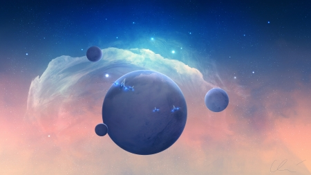 Spaceships - pink, blue, spaceships, luminos, fantasy, planet