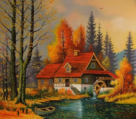 dream house - art, autumn, paintings, mountains, houses, beauty, nature, rivers