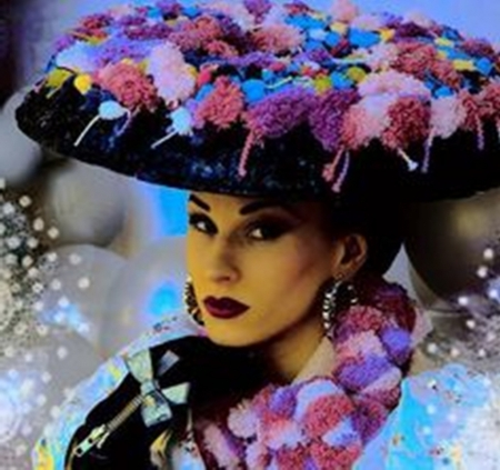 flower maiden - hats, beauty, art, photography, colorful, fashion, models