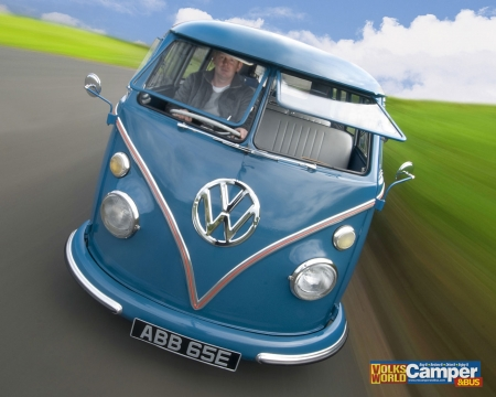 Blue VW Bus - Bus, Transport, VW, Van, Blue