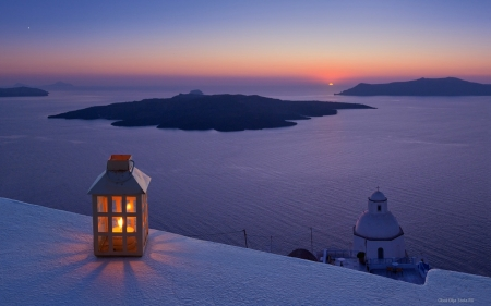 Light on Santorini - lantern, cliffs, nature, volcano, sky, sea