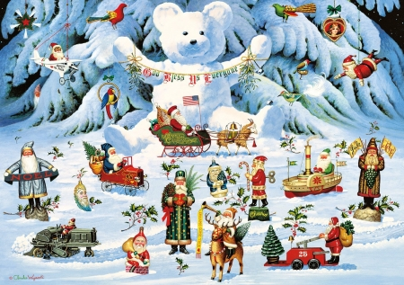 Jingle Bell Teddy & Friends - winter, Friends, holidays, Bell, santas, Charles Wysocki, Jingle, Teddy, painting