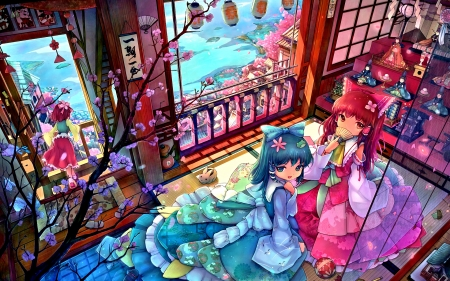 ANIME - colorful, window, maidens, anime, flowers, petals, girls