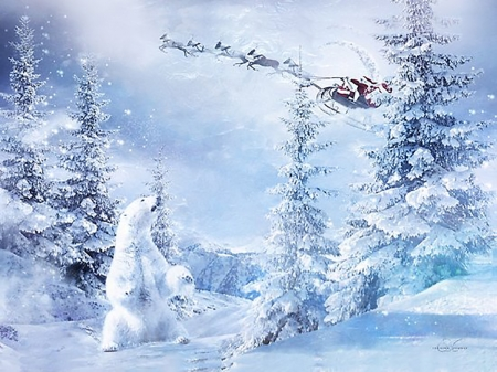 Here Comes Santa - Here, snow, bear, Comes, Santa, winter