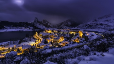 Winter in Spain - village, peaceful, snow, town, frost, winter, night, Spain, mountain, view, light, landscape