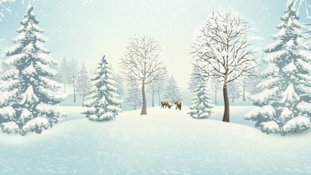 Quiet in the Forest - fawns, snow, trees, field, Firefox Persona theme, winter, deer
