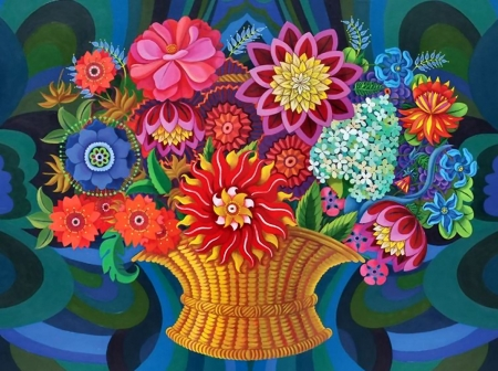 More Blooms in a Basket - art, beauty, love, illustration, flower, romance, floral, wide screen, beautiful, artwork, painting, nature