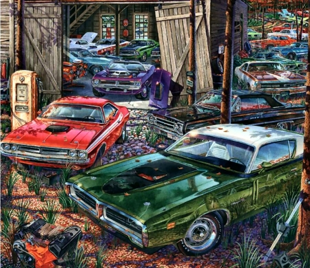 Cars on the Farm - art, beautiful, illustration, artwork, farm, cars, automobile, painting, auto, wide screen