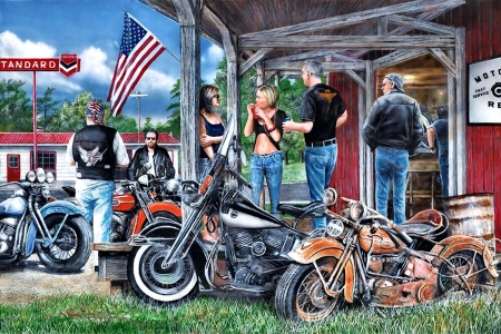 Rust in Peace F - art, illustration, hawg, bike, wide screen, motorcycle, beautiful, painting, artwork