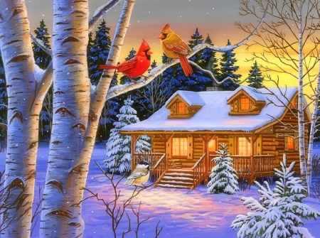 Rustic Retreat in Winter - snow, winter, attractions in dreams, Christmas, holidays, birds, cabins, winter holidays, xmas and new year, love four seasons, cardinals, countryside