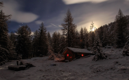 Cabin in the woods. - cabin, snow, winter, woods