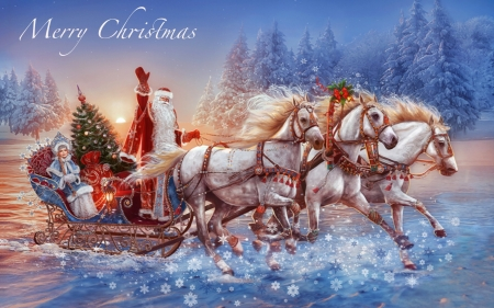 Santa's Three Horse Sleigh - sleigh, holiday, christmas, Merry Christmas, Santa, outdoors, horses, winter, snow, Gifts, vintage