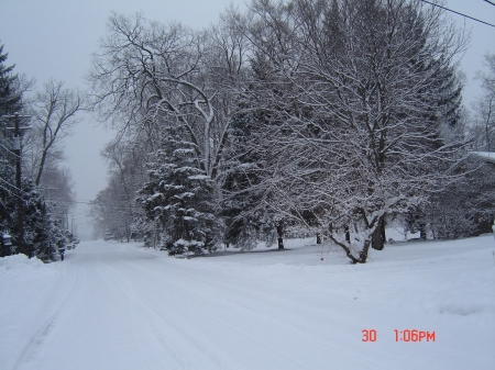 snowy street - snow, cold, winter, nature