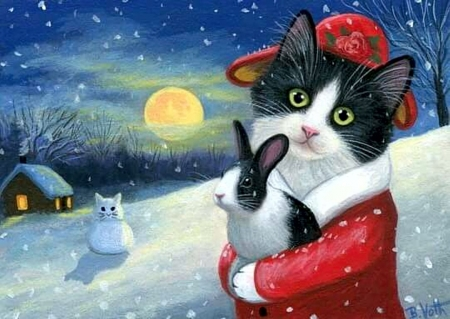 Kitty Santa - santa, dress, snow, cat, artwork, winter