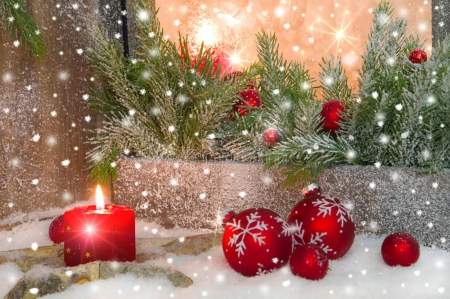 Christmas Decorations - Holiday, Snow, Candle light, New year