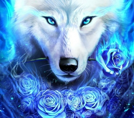 White wolf with a rose