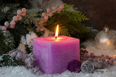 Holiday Candle and Frosted Holly Berries - Berries, Winter, Nature, Candles, Christmas, Holidays