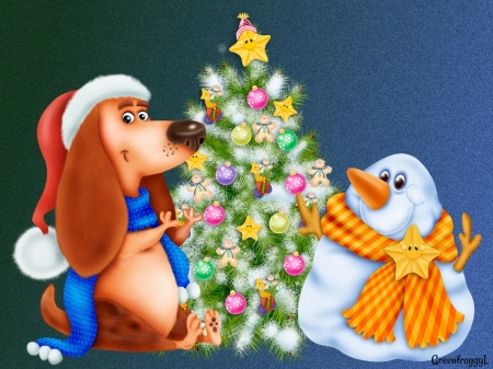 SNOWMAN AND DOG - DOG, SNOWMAN, IMAGE, ABSTRACT