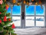 Vintage wooden window overlook winter landscape