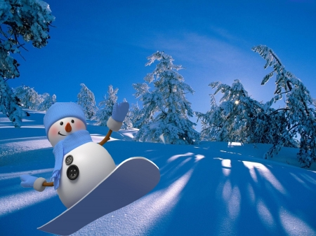 Snowboarding is fun - dusk, fun, twilight, abstract, snowman, happy, winter, snow, shadows, nature, funny, snowboarding