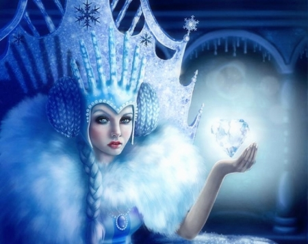 The Ice Queen - queen, love four seasons, creative pre-made, digital art, winter, castles, fantasy, photomanipulation, weird things people wear, ice, crown, crystal, blue
