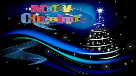 Blue hCristmas - holiday, blue, wallpaper, xmas