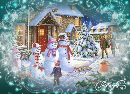 Coming Home - tree, snowmen, robin, christmas, snow, holly, snowman, sled