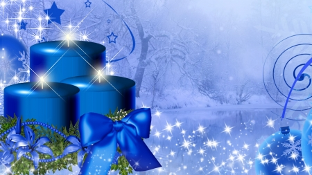Blue Winter Candles - stars, Christmas, feliz navidad, new years, ribbon, shine, winter, sparkle, blue