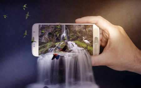 Smartphone Waterfall Funny Entertainment Background