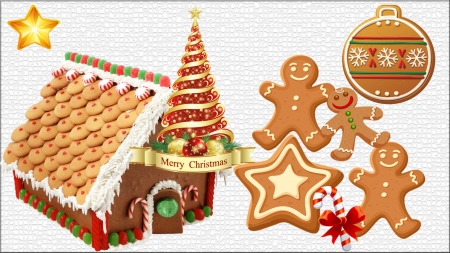 Christmas Tree In GingerBread House - bread, tree, xmas, ginger