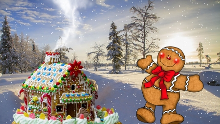 gingerbread house 2 - bread, house, christmas, wallpaper