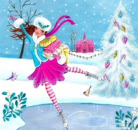 Skating Girl - Christmas, draw and paint, holidays, Christmas Tree, love four seasons, xmas and new year, winter, girl, snow, weird things people wear, gifts, skating