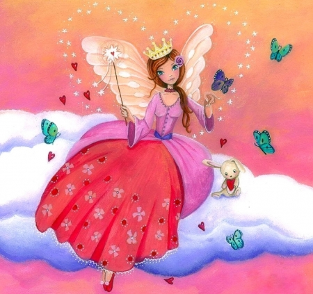 Fairy on a Cloud - draw and paint, wings, love four seasons, butterflies, clouds, hearts, girl, weird things people wear, fairies, butterfly designs