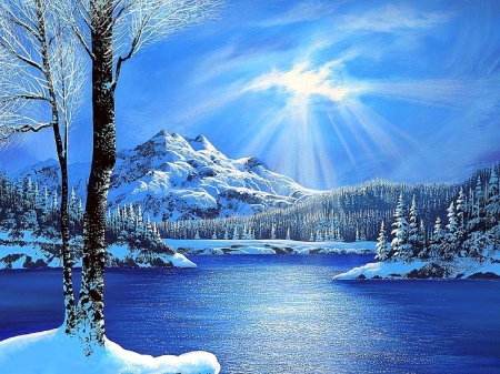 Shining Bright - holidays, love four seasons, attractions in dreams, sky, xmas and new year, winter, paintings, snow, mountains, nature, blue and white, forests, rivers
