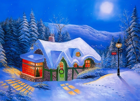 Silent night - pretty, silent, house, cottage, eve, lights, mountain, moon, painting, evening, frost, night, art, holiday, christmas, winter, snow, peaceful