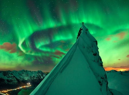 In Green Company Aurora over Norway - mountain, cool, Aurora, space, nature, fun, Norway