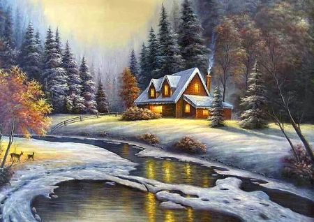 Magic winter - forest, colorful, cottage, beautiful, creek, winter