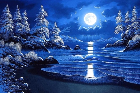 Moonlight Tahoe - moons, holidays, white trees, love four seasons, attractions in dreams, xmas and new year, sea, winter, paintings, snow, nature, blue and white