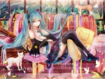 Hatsune Miku with kittens