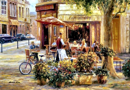 Corner Cafe - art, illustration, cityscape, scenery, stores, wide screen, shops, beautiful, architecture, artwork, painting