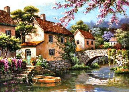 Country Village Canal - architecture, art, house, beautiful, illustration, artwork, bridge, painting, wide screen, scenery, landscape