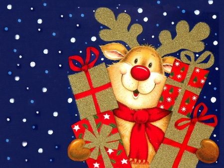Happy Reindeer - PRESENTS, CUTE, RED, NOSE
