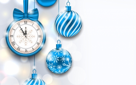 Happy New Year! - deco, craciun, christmas, clock, new year, card, bal, white, blue