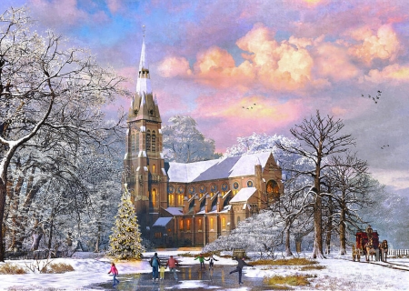 Winter Cathedral - christmas tree, christmas, snow, ice, church, skating, carriage, winter