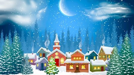 Ready for Santa - village, snow, winter, moon, forest, neighborhood, christmas tree, houses, feliz navidad, cottages, Firefox Persona theme, trees