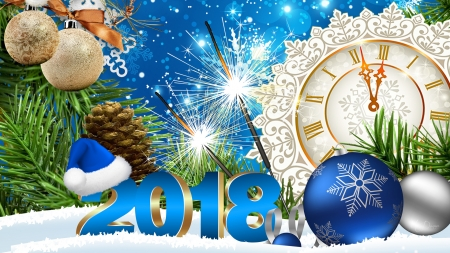 Celebrate 2018 - stars, Christmas, new years, cones, clock, 2018, pine, decorations, sparklers, Firefox Persona theme, blue balls