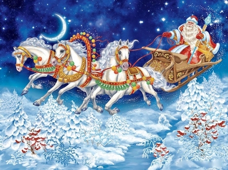 Merry christmas - lovely, snow, colorful, night, landscape, horse, beautiful, nature, amazing, color, christmas spirit, wish, winter, dreams, spirit, fields, santa claus
